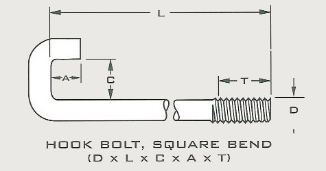 Special Order - Hook Bolt, Square Bend